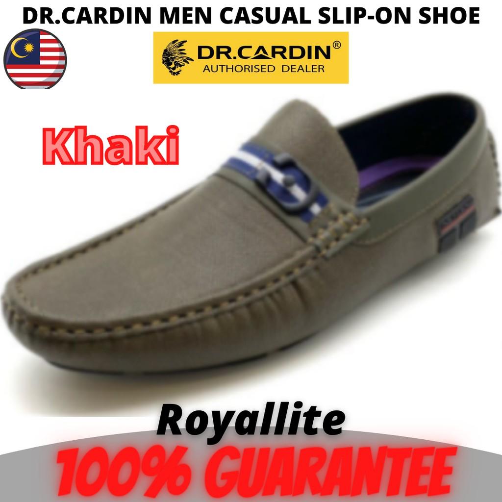 DR.CARDIN MEN FAUX LEATHER MICRO SUEDE CASUAL SLIP-ON SHOE (TRC-60017) Black & Khaki
