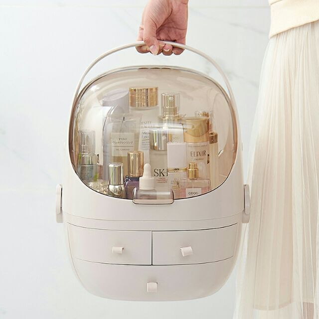 BIG CAPACITY HANDLE COSMETIC MAKEUP STORAGE BOX ORGANISER化妆收纳盒