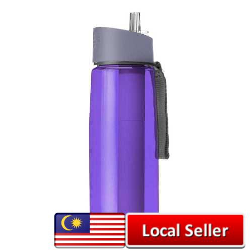 650ml Water Bottle with Purifier Filter for Camping Hiking Traveling (Purple)