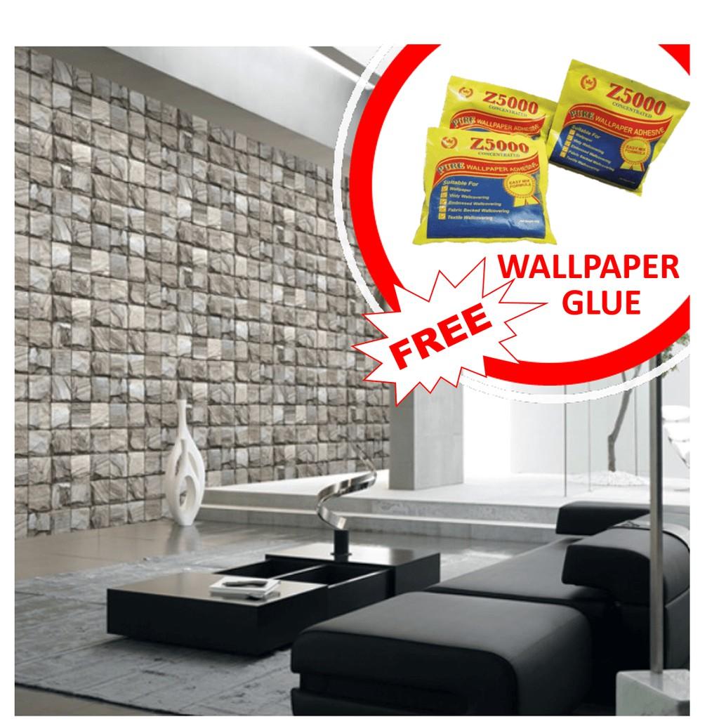 Korea (106cmx1506cm) 3D Brick Wallpaper ...