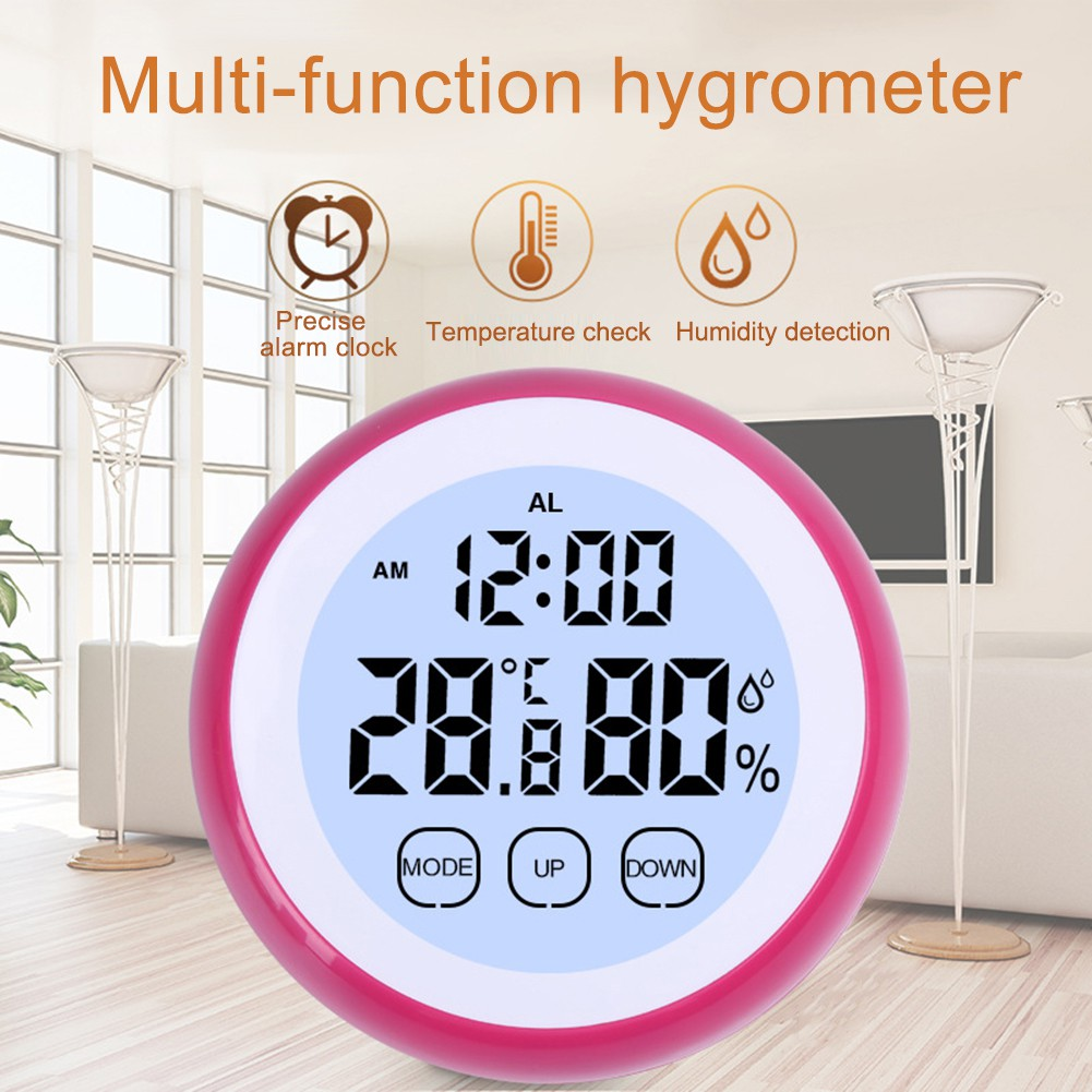 Digital Multifunction Temperature Humidity Meter With Clock Alarm Date Week Calender Htc 2 Ziva Time Thermometer Shopee Malaysia