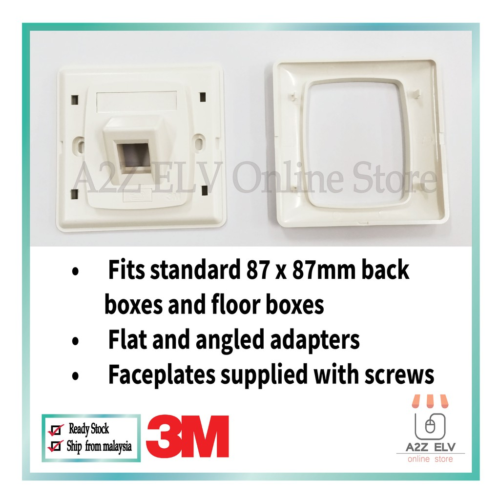 3M Volition EXP 1 Port Angled Faceplate 120Ream (87 x 87mm)