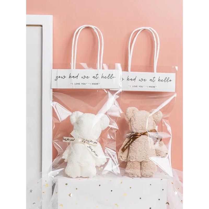 Bear towel with hand gift box gift modeling handmade gift cartoon gift bag creative marriage practical wedding gift