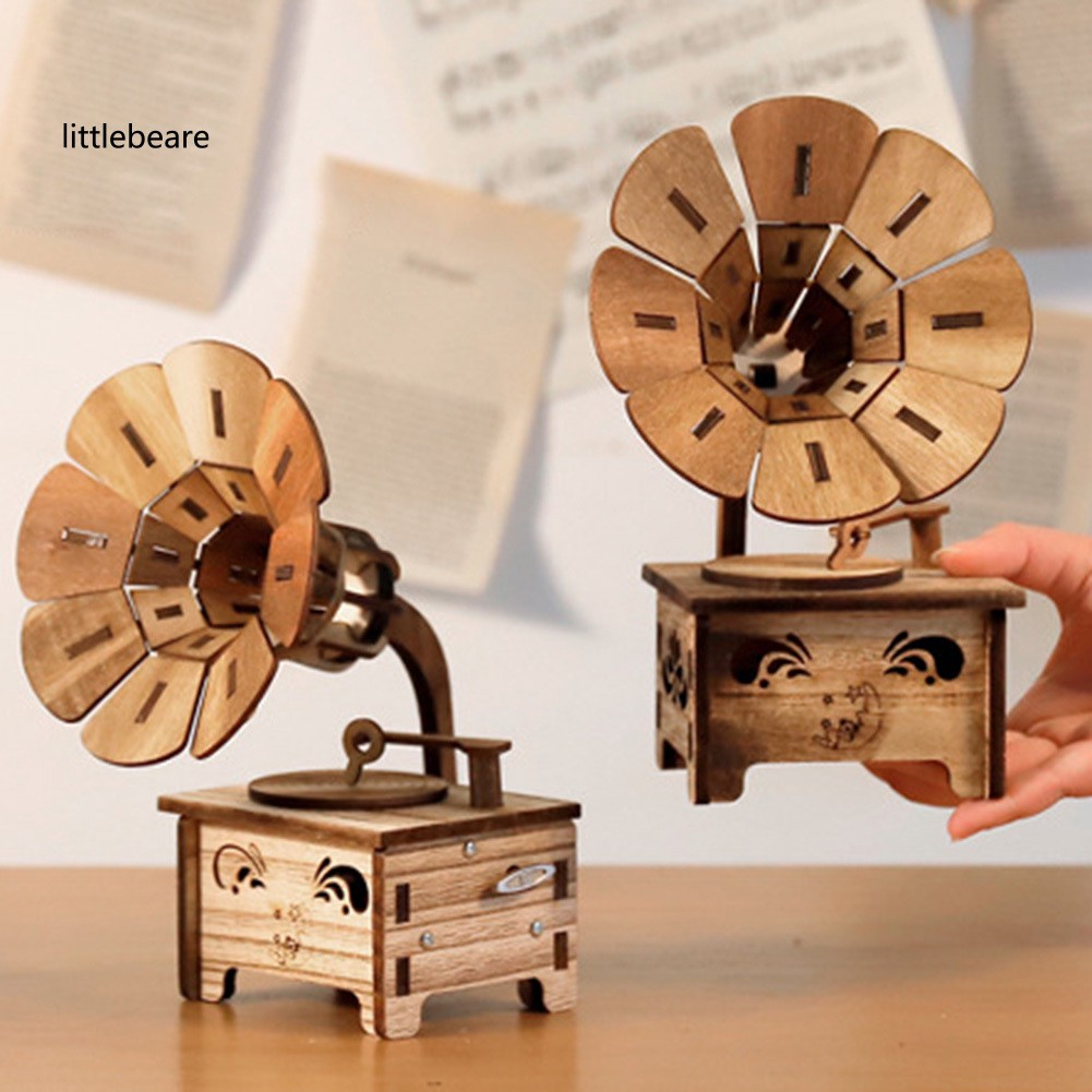LX_Vintage Gramophone DIY Wooden Musical Box Home Decor Birthday Gift Art Craft