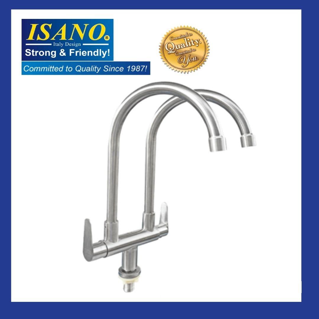 ISANO 1100TI Double Kitchen Sink Faucet Stainless Steel SUS 304 PILLAR TYPE