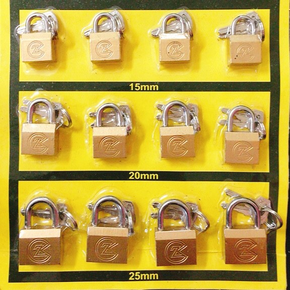 Premium Quality Brass Pad Lock (15MM/20MM/25MM) Gold Plated Heavy Duty Rust Proof Luggage Pad Lock 12psc