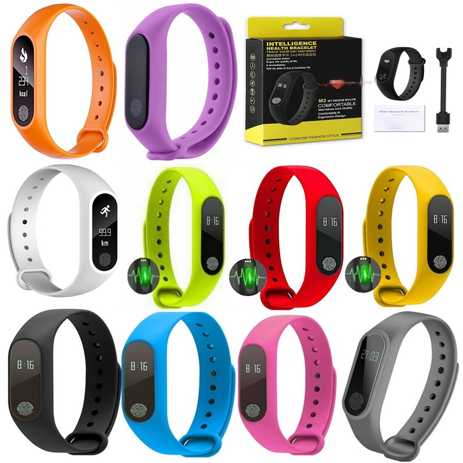 M2 Heart Rate Watch Anti-lost Reminder Pedometer Bluetooth Sport Smart  Wristband