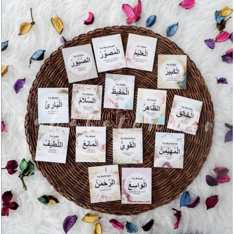 3pcs Free Gift Cute Murah Doorgift Mini Bookmark Islamik Kad Zikir Asmaul Husna Quotes Card Motivation Wall Sticker