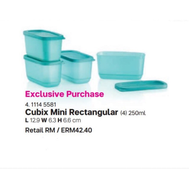 🍉Tupperware Cubix Mini Rectangular (1) 250ml