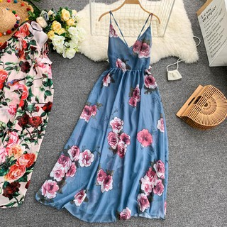 84da08c1391d0 Women Fashion Beach Summer 2019 New Bohemian Floral Print Long ...