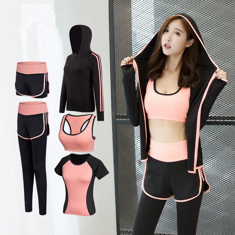 Women 5 Piece Yoga Set for Running T-Shirt Fitness Bra Sports Wear,5pcs Set Gray,M