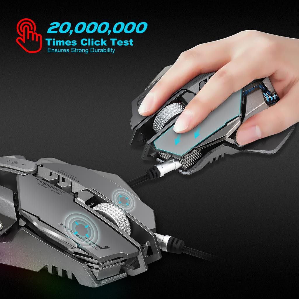 Wired Gaming Mouse Ergonomic LED RGB Mechanical Macros Define for Laptop
