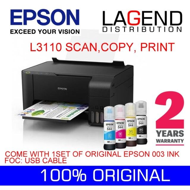 Epson EcoTank L3110 All-in-One Ink Tank Printer  E470, g2010, g3010, 2676,  t510w