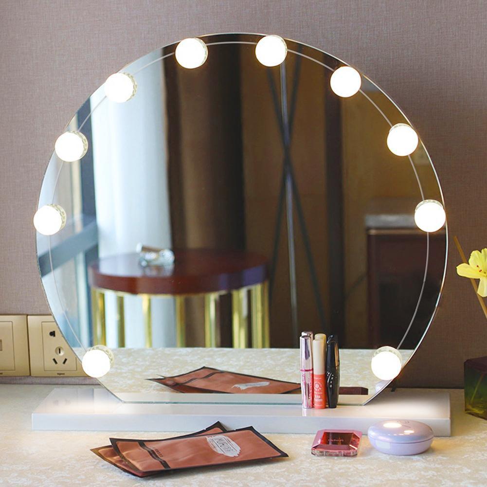 10pcs Led Hollywood Modern Dressing Table Mirror Vanity Lights Diy Makeup Mirror Light Bulb Wall Shopee Malaysia