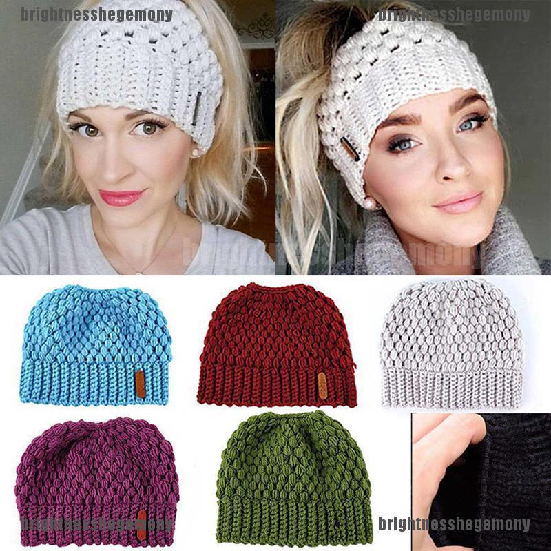 da4a0c72 prior Women Ponytail Beanie Hat Bun Stretch Knitted Cap Warm Hats ...