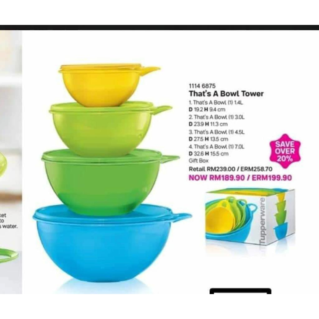 Tupperware Gift Set Color That's A Bowl Tower(4pcs)