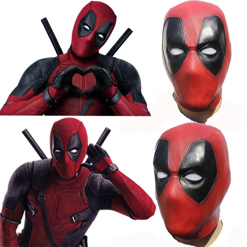 Halloween Movie Deadpool Cosplay Full Head Face Mask Red Latex Helmet  Costume