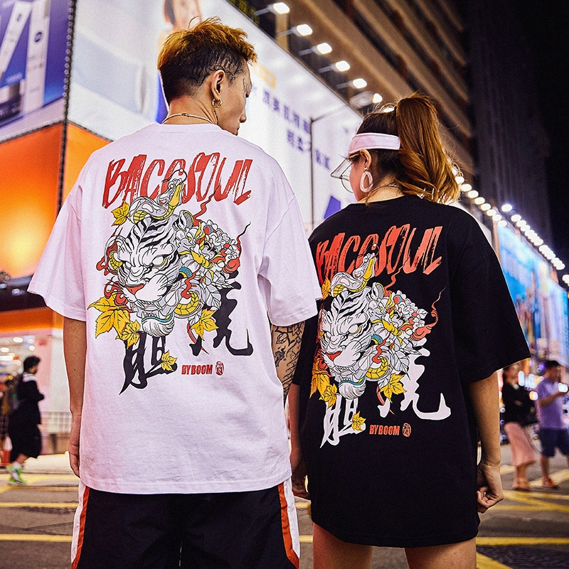 c634ff2ccaa New Fashion Chinese Style Hip-hop Tiger Printed Short-sleeved T-shirt