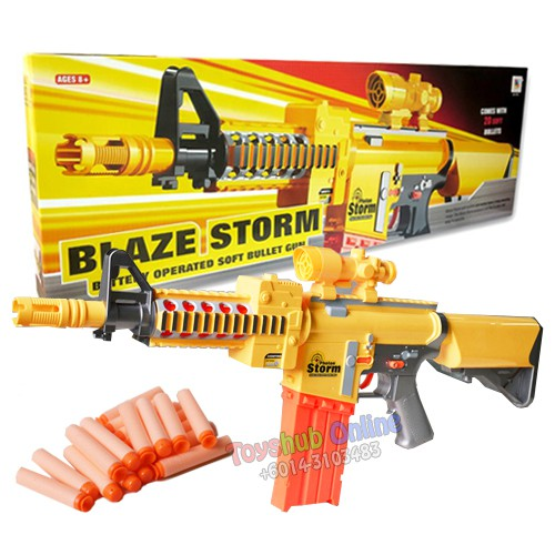 Blazing Storm Rapid Fire Soft Bullet Kid Toy Dart Gun Electric Nerf Call Of Duty