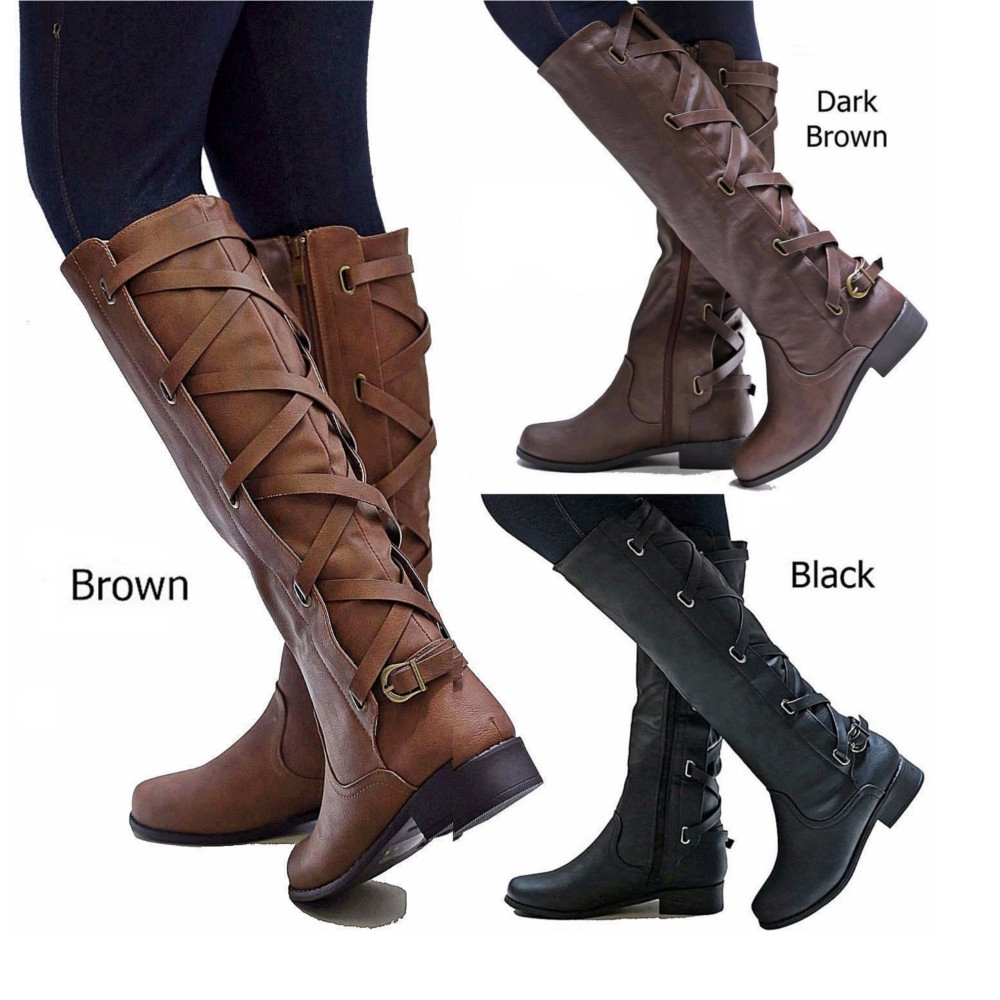 5a305e5315e Women Ladies Brown Black Buckle Riding Knee High Cowboy Boots Mid Calf Lace  Up