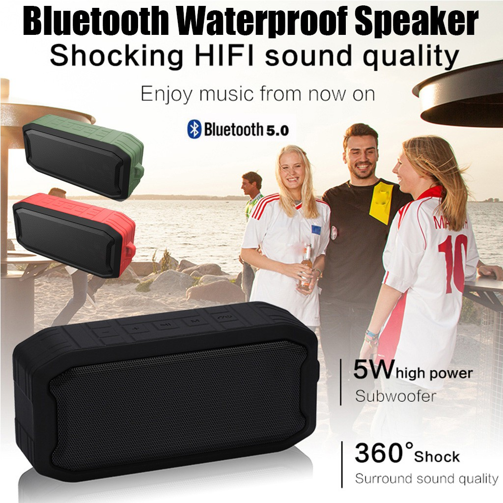 Outdoor Waterproof IPX7 Subwoofer Wireless Bluetooth 5.0 TWS Portable Speaker