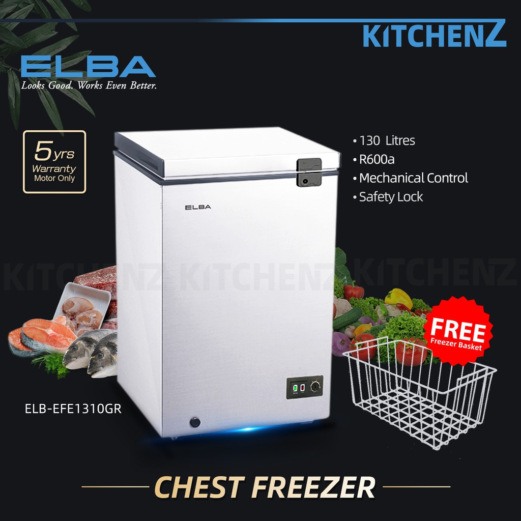 Elba 130L Chest Freezer Dual Mode System / Peti Sejuk Beku EF-E1310(GR)