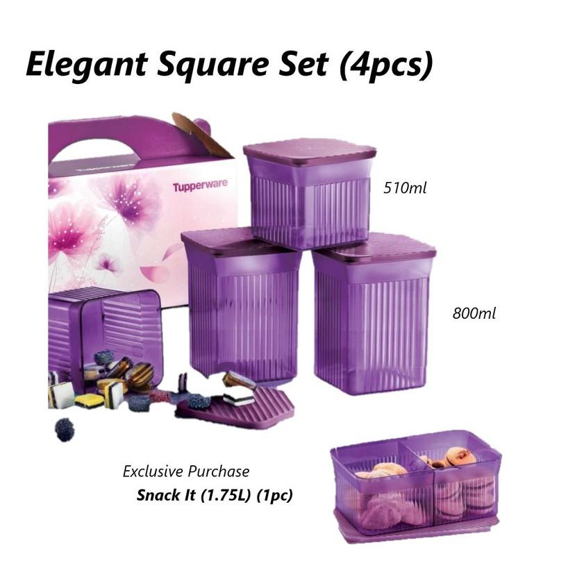 Tupperware Elegant Square Set Bekas Kuih with Exclusive Purchase Snack It
