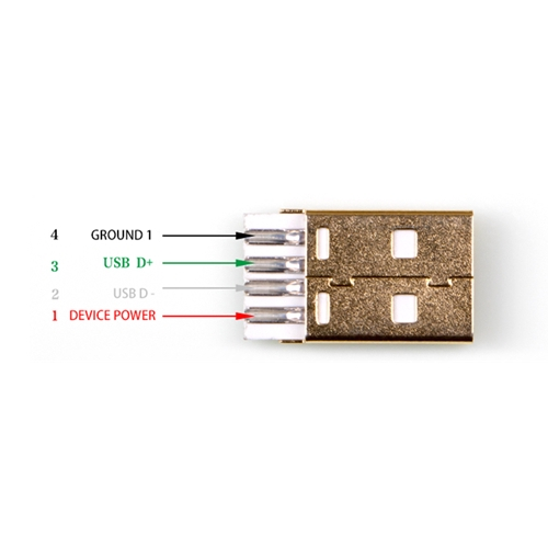 USB Type A Male Assembly Gold Plated Connector Shell