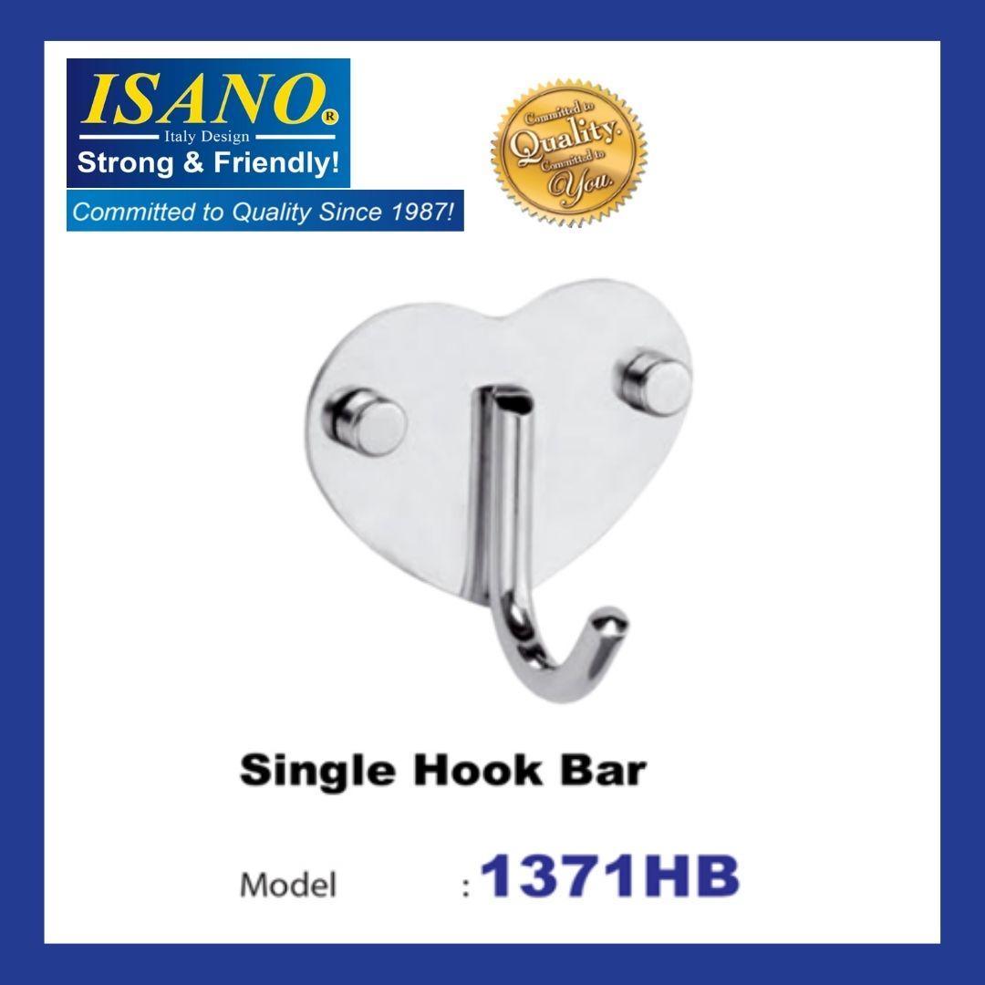 ISANO 1371HB STAINLESS STEEL SINGLE HOOK BAR WALL MOUNT HANGER TOWEL CLOTH HANGER KITCHEN BATHROOM HOOK