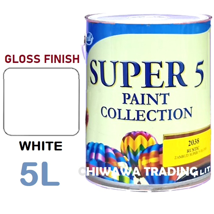 ZAMRUD 100% ORIGINAL SUPER 5 1101 Interior Exterior Gloss Finish For Wood & Metal Paint 5 Liter - White / Cat Dinding