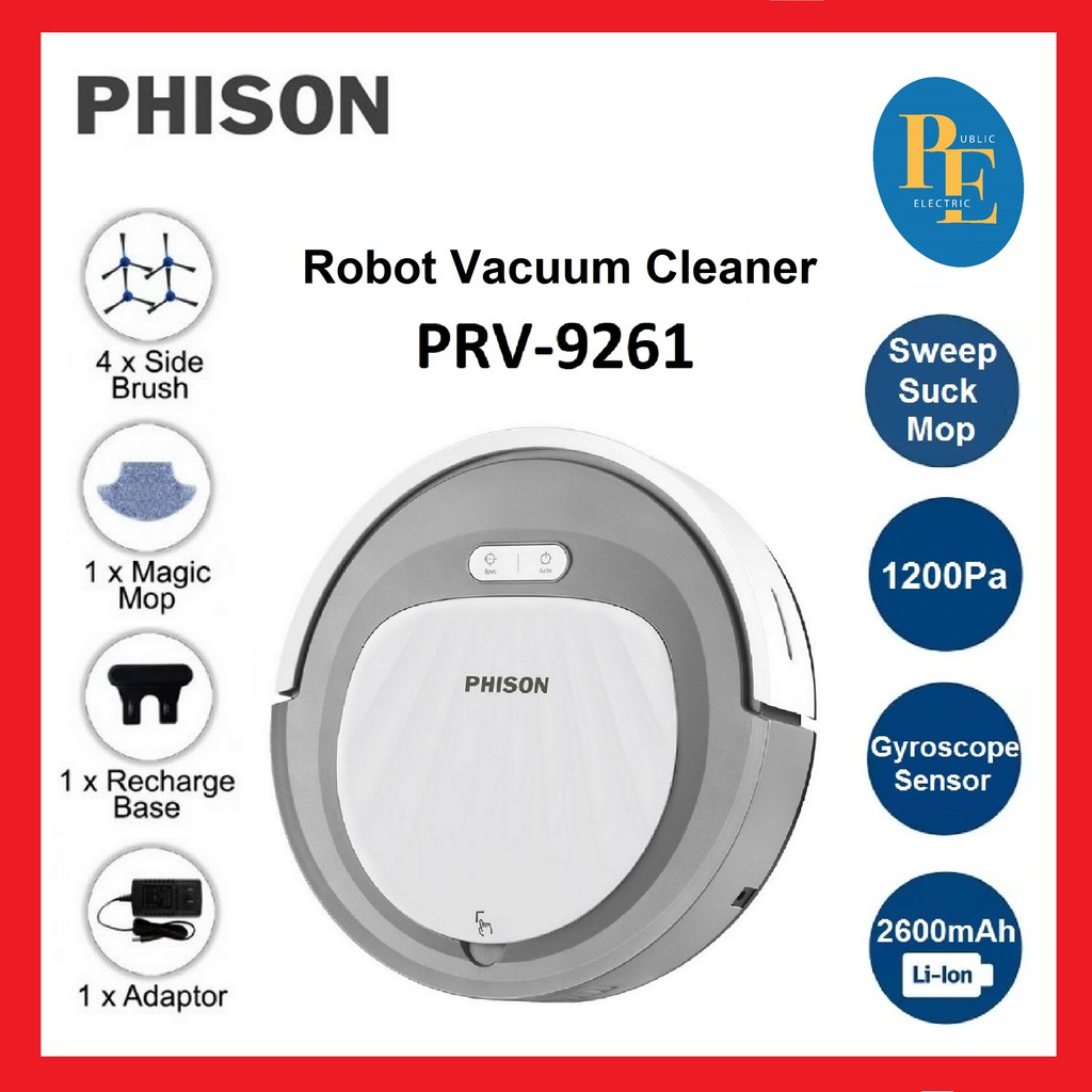 Phison Sweep / Suck / Mop Robot Vacuum Cleaner - PRV-9261