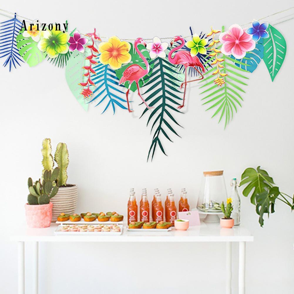 Hawaiian Tropical Summer Party Flamingo Palm Leaves Banner Garland String Light
