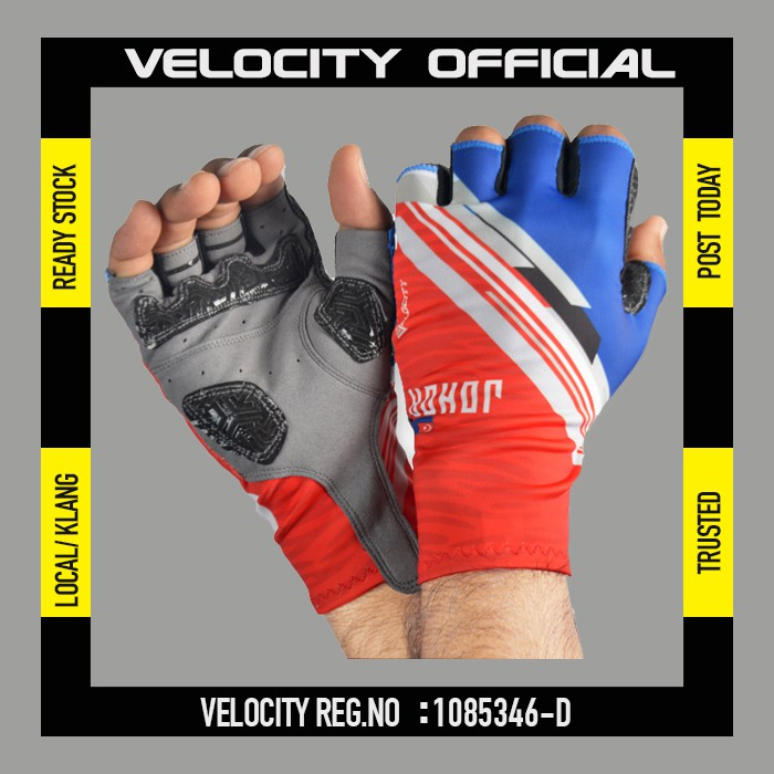 Velocity Cycling Gel Gloves Johor Half Finger Glove Stretcher Glove