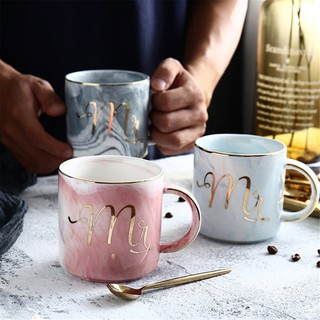Couple Mugs Marble Lover's Plating Gold 1pcs Mug Mrs Mr Gift Ceramic fYg7yb6v