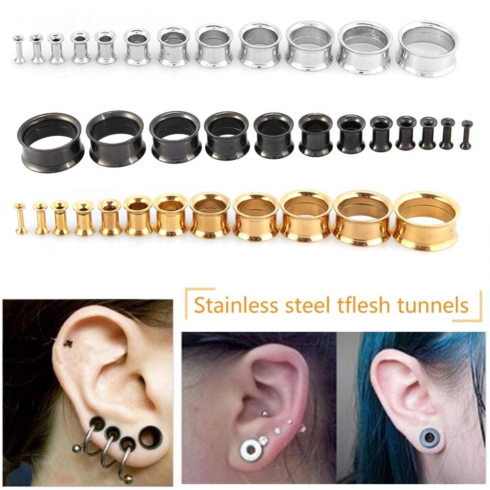 Matte Gold Flesh Tunnels Ear Surgical Steel Double Flared