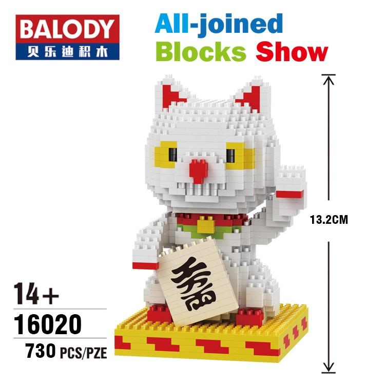 HC 9028 White Lucky Money Smile Cat Animal DIY Mini Diamond Blocks Building Toy