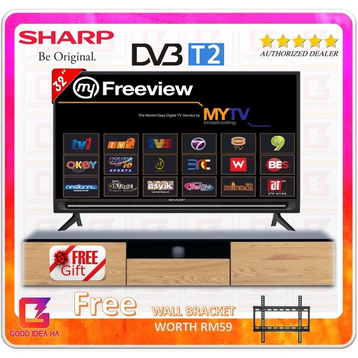 [12.12] *FREE GIFT + BRACKET* SHARP 32 HD Ready LED TV LC32SA4200X with DVBT2 MYTV MYFREEVIEW