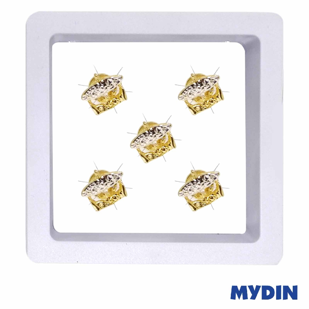 Armaan Button Wau Rhodium Two Tone JP39WS2T790 (5pcs) #Raya