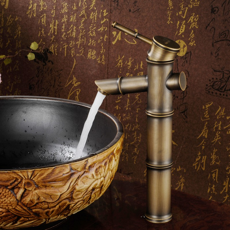 DSY Basin Faucet Bathroom Taps European Style Copper Antique Short Teapot Basin Wash Basin Hot and Cold Water Mixing Faucet Bathroom Taps