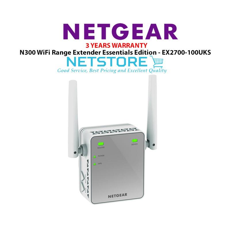 Netgear N300 WiFi Range Extender - Essentials Edition EX2700-100UKS
