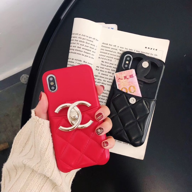 new arrival 9a6dd 3f3cd iPhoneXS Max XR 6 6s 7 8 PLus Chanel Card Holder Bracket Phone Case Cover