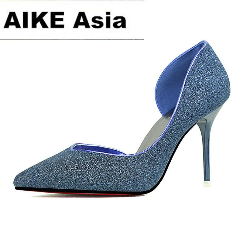 f85d5badf5 2018 Women Pumps Fashion Sexy High Heels Shoes Women Pointed Toe Thin Heel  Ladies Wedding