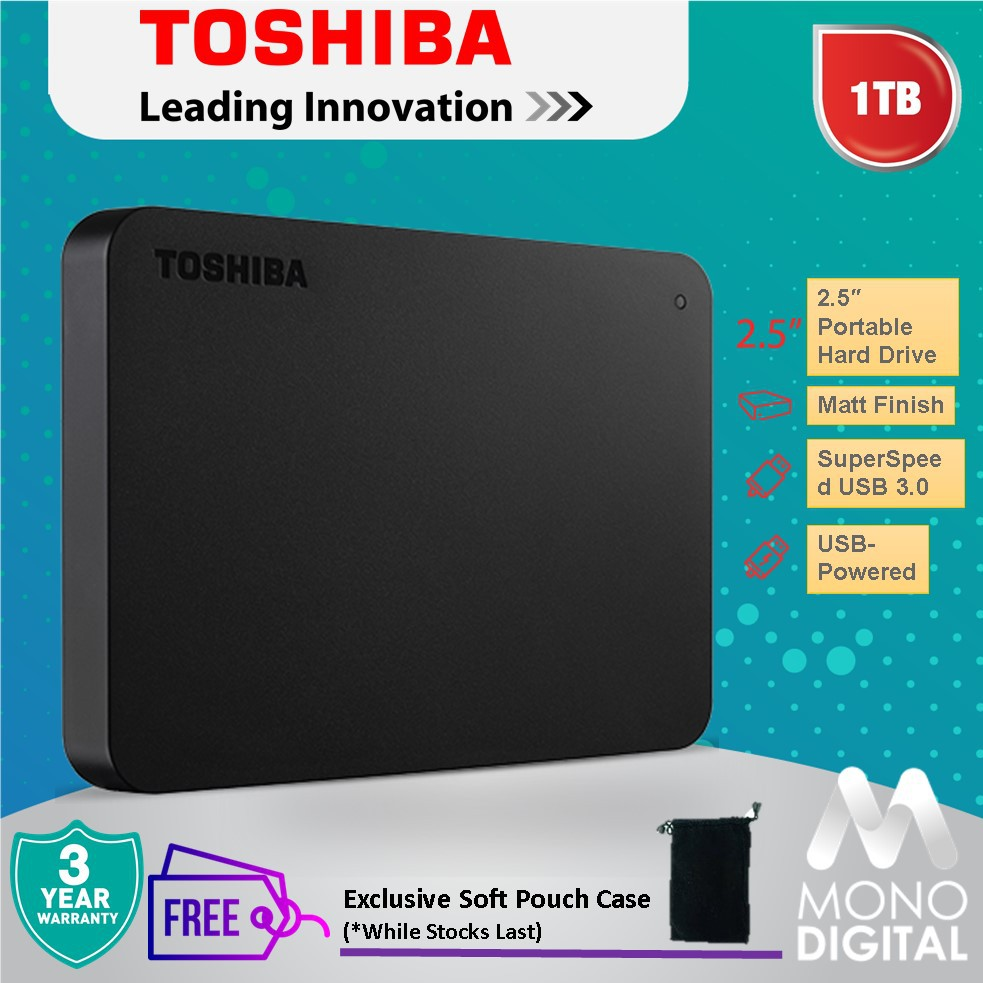 Toshiba 1TB /2TB Canvio Basics Portable External HDD USB 3 0 FREE SOFT POUCH