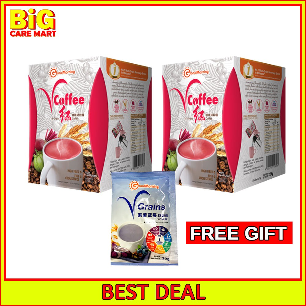 GoodMorning VCoffee 18 Grains Fat Burning Coffee 15sX2+ FREE Vgrains 25g