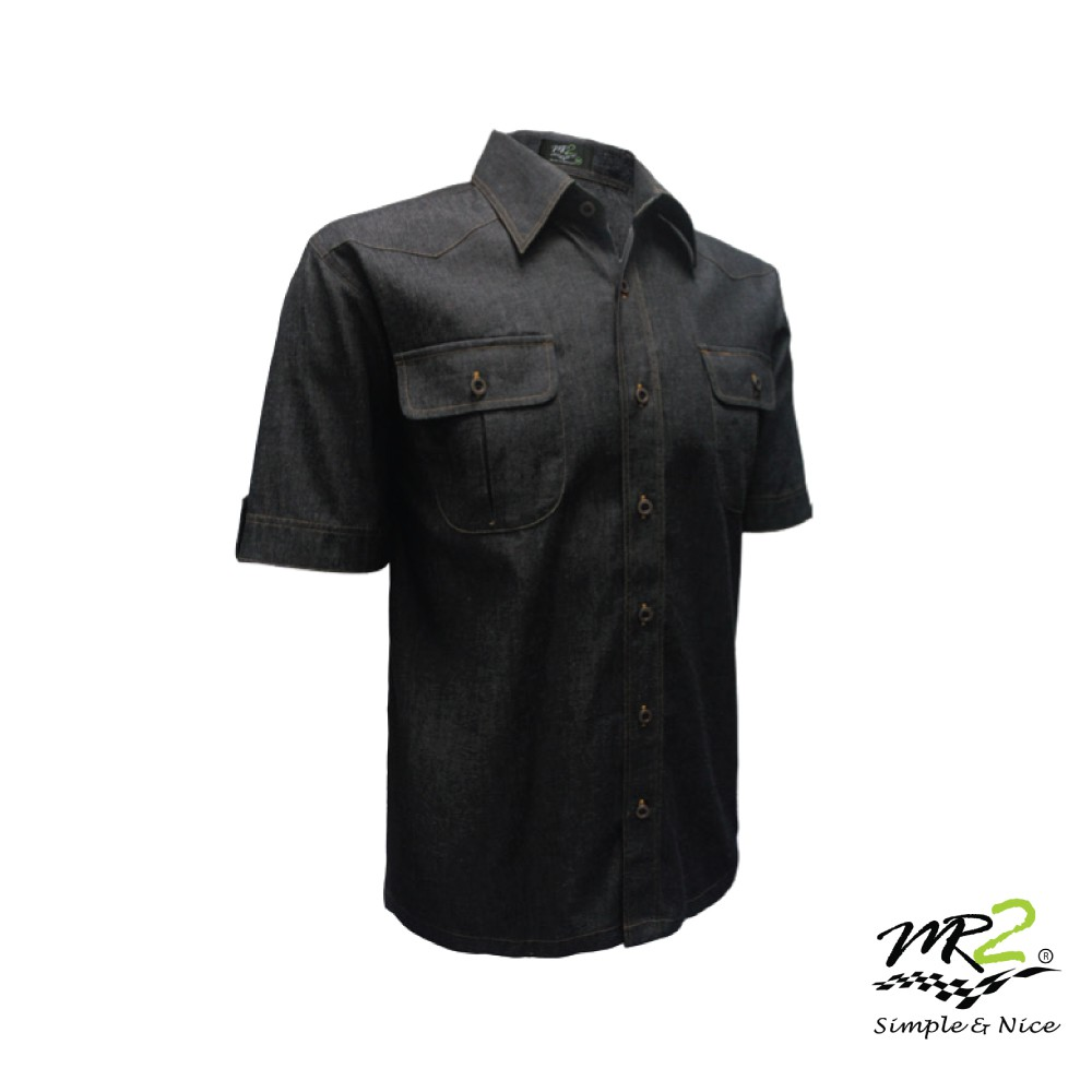YYG Mens Short Sleeve Denim Buttons Pockets Casual Washed Shirts