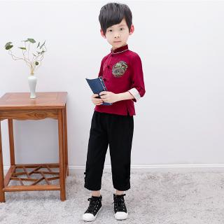64ad3b1455 Boys Chinese Traditional Sam Fu Suit Chinese New Year Style | Shopee ...