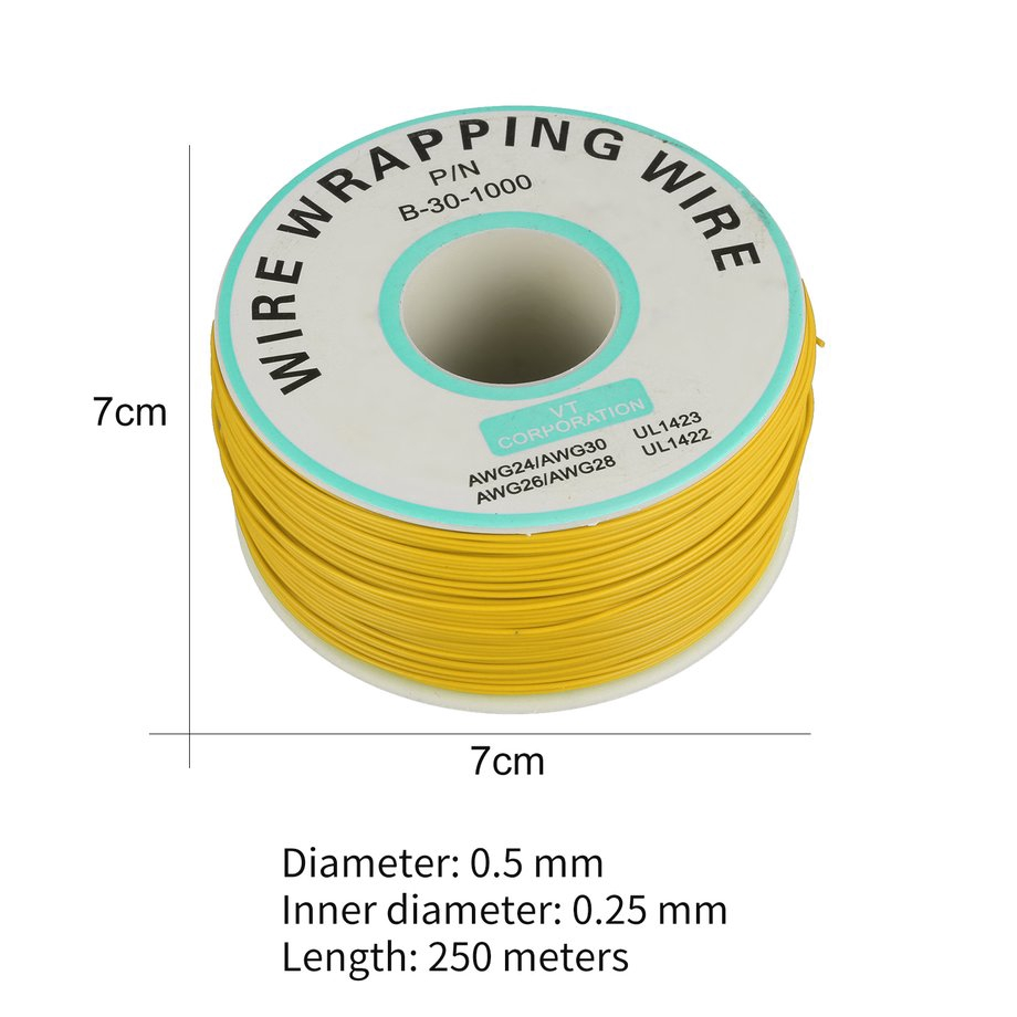 Tree-on-Life 250m 30awg Single Core Copper Wire Ok Line Circuit Flight Line Pcb Jumper Wire Electronic Welding Cable
