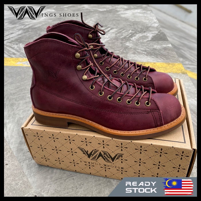 Wing Leather Boot kasut Kulit Wing Vintage Shoe 2996 No Steel toe Boots Leather Shoe Red Wing Style Full Grain Leather