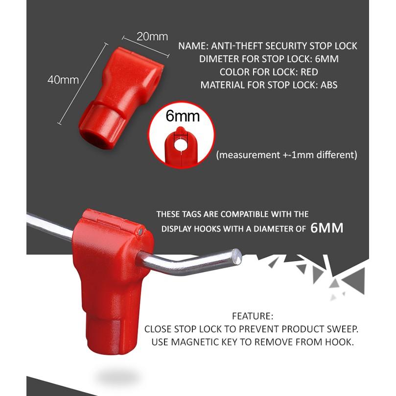 Red Anti-Theft Security Stop Lock (5mm/6mm) (50pcs / 100pcs)