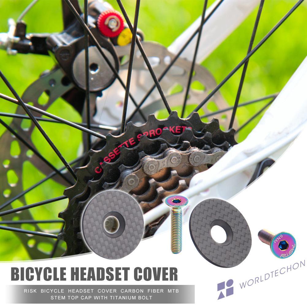 RISK Bicycle Headset Cover Carbon Fiber MTB Road Bike Stem Top Cap w// Bolt 20